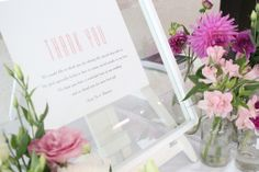 PINK flowers and thank you sign | styling by styleanddiscourse.com