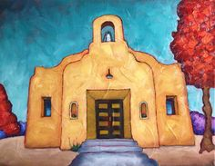 "Bobby Lee Krajnik | La Capilla de El Fuerte | 11 x 14  x 1.4 inches | oil on linen | San Pedro Chapel was built in 1932 by the Mexican community  in the village of ""El Fuerte"". This is now the Old Fort Lowell Neighborhood in Tucson, Az. The chapel is on the National Register of Historic Places and is a City of Tucson Landmark. Art Village, Old Western Towns, Americana Crafts, Southwestern Art, Mini Canvas Art, House Quilts, Old Churches, Fashion Wall Art, Painted Letters"