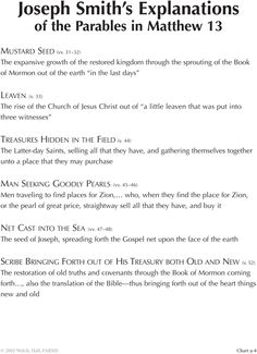 Joseph Smith's Explanations of the Parables in Matthew Charting the New Testament - BYU Studies Mormon Bible, Lds Sunday School, Lds Seminary, Lds Faith, September Song, Lds Scriptures, Fhe Lessons, Joseph Smith, Church News