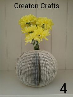 Book Art Round Vases that actually holds water! Available from http://www.creatoncraftsandgifts.co.uk/shop/book-art/book-art-vase/