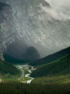 canada.Road to the mountains.