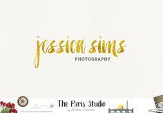 Typographic Silver & Gold Brush Logo Design for e-commerce website logo, wordpress blog logo, boutique logo, photography branding, wedding logo, website branding design.