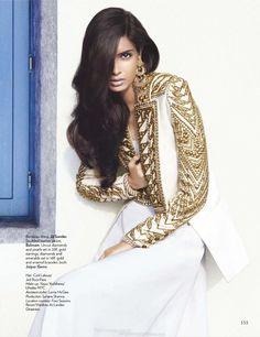 Diana Penty for Vogue India July 2012 :: Dress, Jil Sander; Leather Jacket, Balmain -