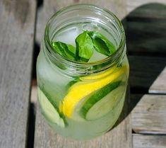 Cucumber Basil Lemonade    Water  Cucumber slices  Lemon juice  Lemon Slices  Basil  Stevia