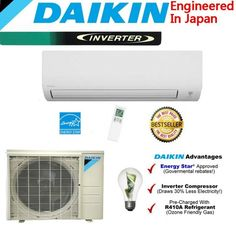 New Japanese Daikin 24000 BTU High Efficient Saving Mini Split Inverter Air Conditioner Hot Sales Amana Air Conditioner, Air Conditioning Companies, Home Air Purifier, Fans For Sale, Cordless Vacuum Cleaner, Heating And Cooling, Cooling System, Save Energy