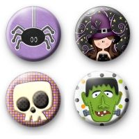 Kool Badges Set of 4 Bright Halloween Button Badges. Set of 4 Bright Halloween Button Badges. Happy Halloween, Halloween Costumes, Spooky Halloween, Badge Creator, Halloween Party Supplies, Wicked Witch, Button Badge, Pin Badges, Kitsch