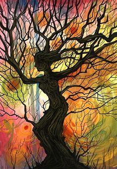 """Tree of Life Series ~ Dusk"" © 2011 Cherie Roe Dirksen. I think this artwork beautifully captures the idea behind Daphne's transformation into a laurel tree. Arte Pink Floyd, Art Plastique, Tree Art, Oeuvre D'art, Mother Nature, Amazing Art, Fantasy Art, Cool Art, Art Projects"
