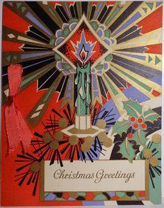 Vintage Art Deco Christmas Card ~ candle Christmas Greetings