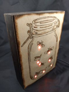 This one-of-a-kind nightlight depicting a mason jar full of fireflies is lit by a series of RGB leds. It is powered by microUSB and has a button that cycles the nightlight between two modes: a gentle, realistic twinkling and a flashing neon rainbow cycle. At 5x7 it is perfect for your desk, nightstand or tent in Black Rock City! Rainbow cycle mode: https://youtu.be/wYm8Ur4i-7g