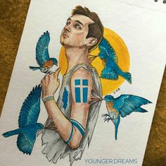 """i will fly with no hope, no fear happy bday thank you for always being by my side sending love vibes & hugs all the way from russia hope you're having a great day don't ever forget how much you mean to all of us💙☀️ Joshler Fanart, Isle Of Flightless Birds, Vampire Kids, Twenty One Pilots Art, Me Anime, The Draw, Tyler Joseph, Cool Artwork, The Twenties"