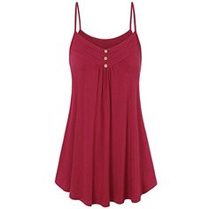 Discover Bargain FengGa Women Summer Tank Top Loose Casual Blouse Sleeveless Summer Loose Button V Neck Cami Tank Tops Vest Blouse Red Summer Outfits Women, Summer Dresses, Loose Dresses, Mini Dresses, Shirts & Tops, Vest Tops, Baggy, Plus Size Tank Tops, Summer Tank Tops