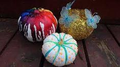 DIY NO-Carve Halloween Pumpkins: Hello we hope you enjoy this tutorial for some easy no carve pumpkins, crayon pumpkin, glow in the dark pumpkin, and Cinderella Halloween pumpkin. Little Pumpkin, Hallows Eve, Halloween Pumpkins, Pumpkin Carving, Christmas Bulbs, Holiday Decor, Fun, Home Ideas, Halloween Gourds
