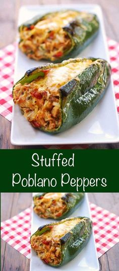Stuffed Poblano Peppers , By Paula Michele . Oven baked chicken stuffed poblano peppers are delicious, gorgeous, and healthy. Healthy Food Blogs, Healthy Recipes, Low Carb Recipes, Cooking Recipes, Cheap Recipes, Fast Recipes, Healthy Dishes, Healthy Meals, Stuffed Peppers Healthy