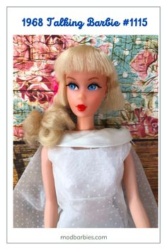 """In 1968, Talking Barbie found her voice! New technology allowed her to talk with a pink flower pull-string behind her neck - although Barbie actually spoke through a voice box in her chest. She suggested fun things to do to inspire hours of play. Barbie said things like, """"Let's go shopping,"""" """"I have a date tonight,"""" """"What's playing at the cinema?"""" and more. Collectors score when they find a vintage talker that still speaks! She's wearing 1968's Wedding Wonder #1849. #TalkingBarbie Living Barbie, American Children, Barbie Dolls, Play Barbie, Barbie Collection, Friend Photos, Life Magazine, Vintage Barbie, Little Sisters"""