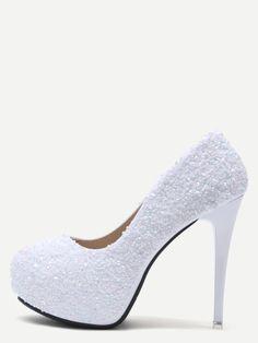 White Colored Sequin Inlaid Stiletto Pumps