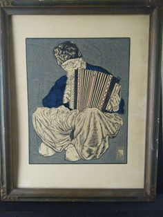Antique Werkstatte Era Woodblock Print Russian Cossack Playing Accordion Signed #Realism