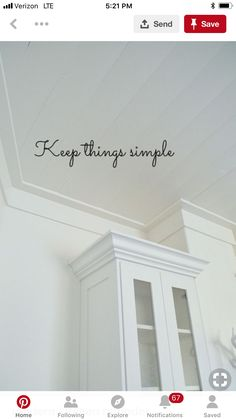Simple crown molding Crown Molding Modern, Ceiling Crown Molding, Diy Crown Molding, Ceiling Trim, Wall Trim, Moldings And Trim, Plank Ceiling, Moulding, Baseboard Trim