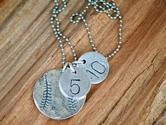 Hand Stamped Sterling Silver Baseball Softball Necklace by sosobellatoo on Etsy, $50.00