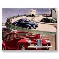 Vintage Classic Sedan Cars Driving on the Freeway Post Cards by YesterdayCafe