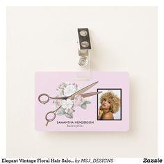 Elegant Vintage Floral Hair Salon Employee Photo Badge