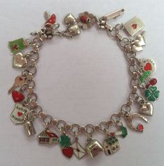 eCharmony Charm Bracelet Collection - Tiny Austrian Charms Red, Green & White