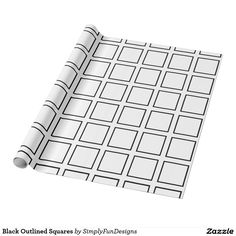 Black Outlined Squares Wrapping Paper
