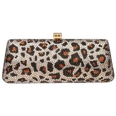 Leopard clutch bag (brown) ($2,759) ❤ liked on Polyvore featuring bags, handbags, clutches, brown clutches, embellished purses, leopard handbag, brown handbags and embellished handbags