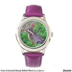 Cute Cottontail Bunny Rabbit Photo Watches. This cute design features a cute cottontail bunny rabbit sitting in lush, green grass.