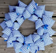 Here is a sweet and refreshing decoration for your baby boy's nursery, or  your toddler's room wall or door.  This handsome plaid fabric deserved to stand alone with only interesting ribbons to give i