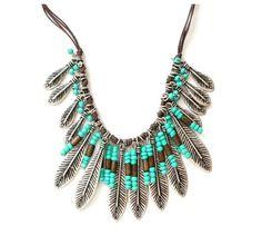Bohemian Style Vintage Silver Resin Bead Long Tessal Leaf Fringe Bib Necklace #Unbranded #Fringe