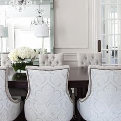 Gray Damask Dining Chairs with Dark Stained Dining Table - Transitional - Dining Room Dining Room Lamps, Cottage Dining Rooms, Dining Room Design, Living Room Decor, Dining Chairs, Dining Area, White Round Dining Table, Dining Chair Slipcovers, Dining Room Inspiration