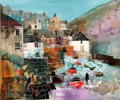 """""""Low Tide, Port Isaac"""" Mixed media by Mike Bernard. Collage Landscape, Abstract Landscape, Landscape Paintings, Landscapes, Mike Bernard, Seaside Art, Madrid, Mixed Media Artists, Mixed Media Artwork"""