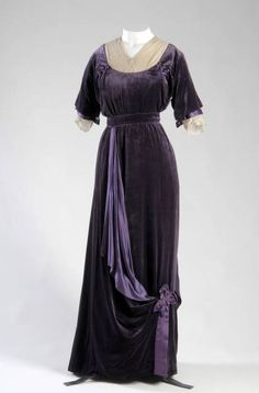 """Afternoon Dress, Jeanne Paquin (1869-1936), Paris, France: 1910, silk velvet, silk satin, silk lace. """"Jeanne Paquin designed gowns of quiet sophistication for women of refined taste. Her clients included the queens of Belgium, Portugal, and Spain. Robert Forrest wrote in 1925, 'Fashion once simply did not know what to wear until Madame Paquin brought out her season's models; and as for her competitors, their plight was pitiful.'"""""""