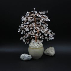 Items similar to Natural Rock Crystal Quartz Wire Tree Clear Quartz Sculpture Life of Tree Lucky Tree Feng Shui Decor Tree Gemstone Bonsai April Birthstone on Etsy Clear Quartz, Quartz Crystal, Feng Shui, Bonsai, Birthstones, Wire, Pottery, Sculpture, Gemstones