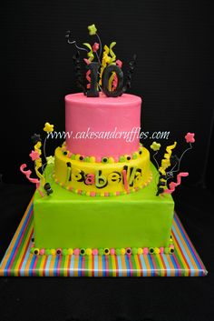 "'glow-In-The-Dark' Cake This was a 10th birthday cake for a ""Glow-in-the-Dark"" party! All buttercream with fondant/..."