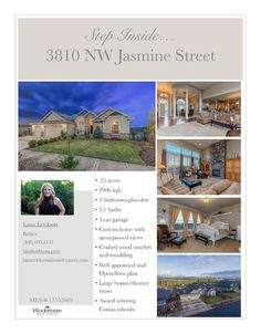 Real Estate for sale at $750,000! Come and view this four bedroom, two full and one half bath, 2906 square foot exceptional two level mountain and valley view Day Ranch on a large .25 acre terraced lot located at 3810 NW Jasmine Street, Camas, Washington, 98607 in Clark County area 32 which is in the Camas city limits. The RMLS number is 17552669. It has one gas burning fireplace and a view of a mountain, valley and trees. It was built in 2009 and has an attached three car garage. The local…