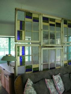 If you're lucky enough to have a large living room, source some stained glass window frames, or even some door frames to create an eyecatching room divider. Glass Room Divider, Diy Room Divider, Room Dividers, Divider Walls, Divider Ideas, Leaded Glass, Stained Glass Windows, Oklahoma City, Bergen