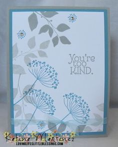 Thank You Card: Stampin' Up Summer Silhouettes and Too Kind!