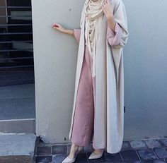 Neutral abaya with pants outfit
