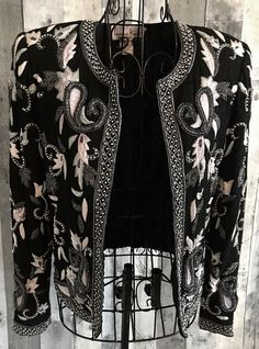 Vintage Laurence Kazar Silk Beaded Embroidered Silk Top Cardigan Jacket Small #LaurenceKazar #TopJacket