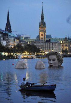 """Badenixe"" (bathing beauty) sculpture in Hamburg, Germany."