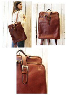 New Brown Handmade Italian Leather backpack door LaSellerieLimited