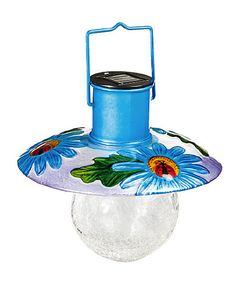Another great find on #zulily! Blue Floral Hanging Solar Lantern by Evergreen #zulilyfinds