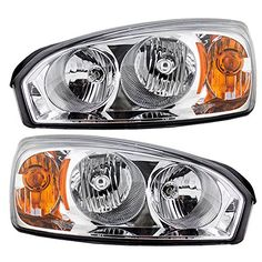 For Chevy Malibu OE Replacement Chrome Bezel Headlights Driver//Passenger Head Lamps Pair New