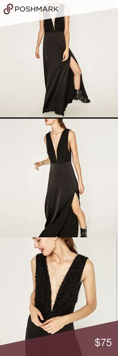 Zara Long Fringed Dress in Black NEW Zara Gown Zara Dresses Maxi