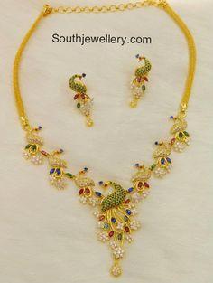 CZ Stones Peacock Necklace Set - Jewellery Designs