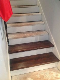 From Carpet to Wood Stairs Redo - Cheater Version. DIY From Carpet to Beautiful Wood Stairs - Cheater Version. Very Low Cost low Effort High Impact Home Update! Redo Stairs, Stair Redo, Basement Stairs, Diy Stair, Basement Bathroom, Basement Ceilings, Basement Carpet, Basement House, Diy Flooring