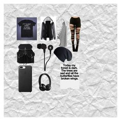 """Idc"" by yinyang-bestfriend-goals ❤ liked on Polyvore featuring Converse, Skullcandy, Beats by Dr. Dre and Black"