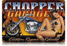 Chopper Garage Vintage Metal Sign