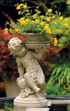 Cherub with basket beautiful garden statue #gardenstatue